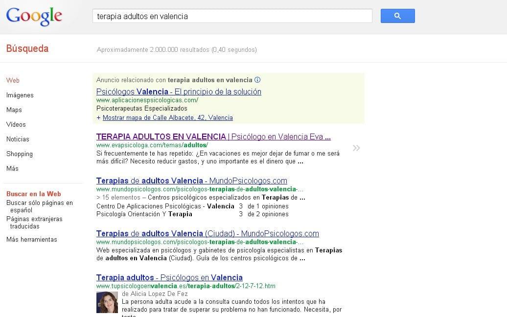 Posicionamiento web del Gabinete Psicológico Eva Hernández en Valencia
