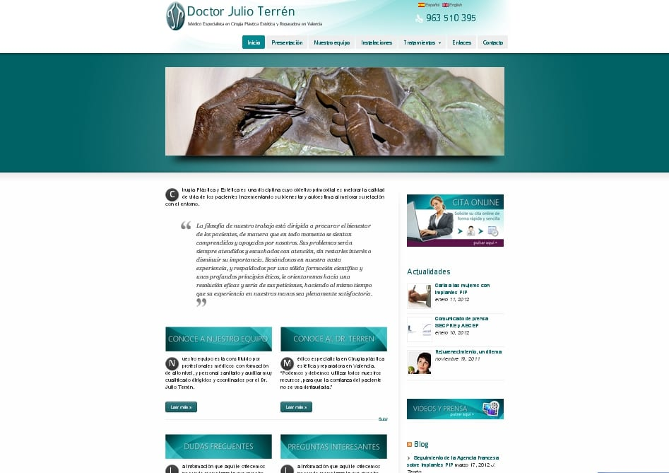 Página de inicio de la web de Julio Terrén cirujano plástico, estético y reparador