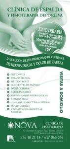 Folleto o flyer Clínica de Fisioterapia NOVA en Jerez