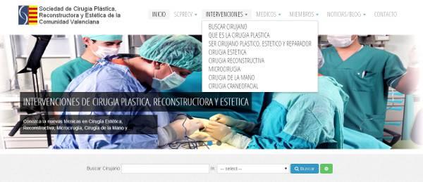 Diseño Web de la Sociedad de Cirugia Plastica, Reparadora y Estetica de la comunidad Valenciana