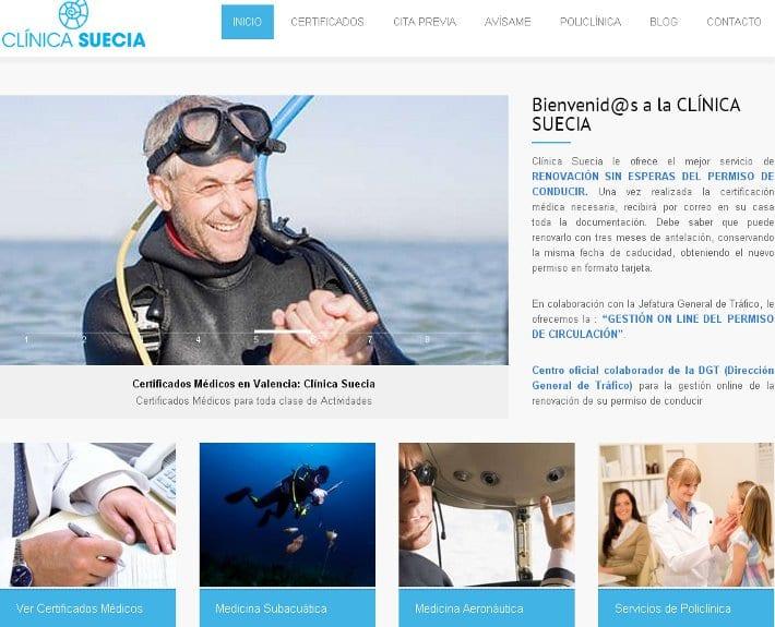 Diseño web Clinica SUECIA: certificados medicos en Valencia