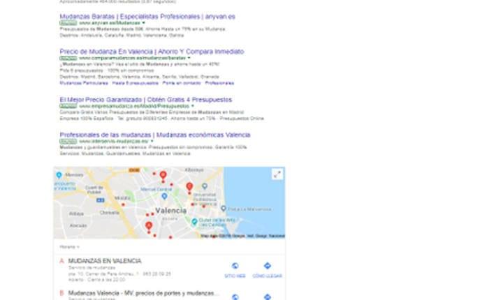 posicionamiento web de la empresa Mudanzas CPT