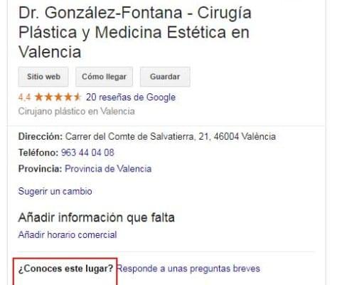 cuadro de google local mostrando la pregunta ¿conoces este lugar? para SEO local