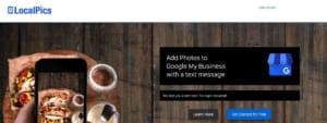 pantalla de inicio de la aplicación Localpics para google my business.